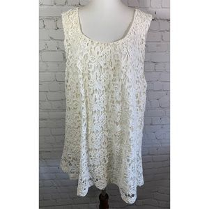 NWT Lucky Brand White Lace Overlay Blouse